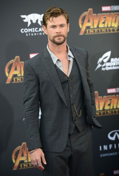 chris hemsworth arrives for the premiere of disney and marvel's 'avengers infinity war'