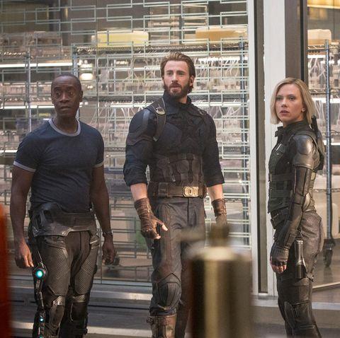 don cheadle, chris evans, scarlett johansson, black widow, captain america, war machine, avengers infinity war