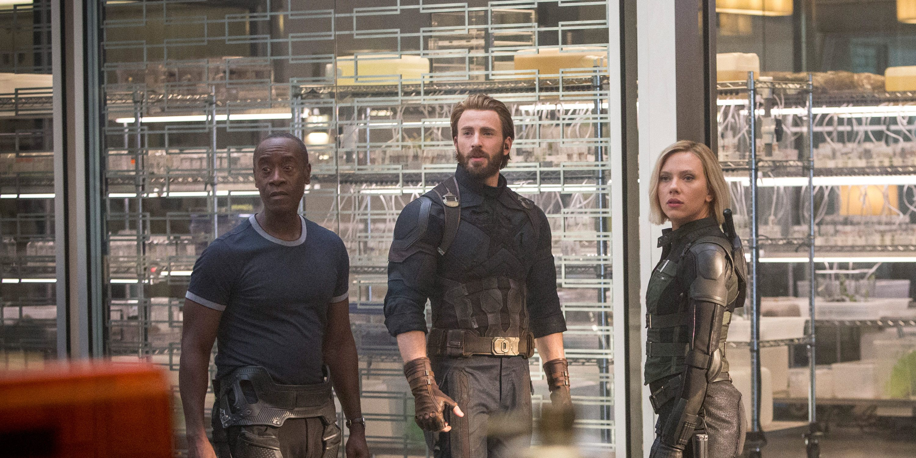Don Cheadle, Chris Evans, Scarlett Johansson, Black Widow, Captain America, War Machine, Avengers: Infinity War