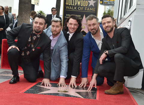 Chris Kirkpatrick, Lance Bass, JC Chasez, Joey Fatone and Justin Timberlake of NSYNC are honored with a star on the Hollywood Walk of Fame