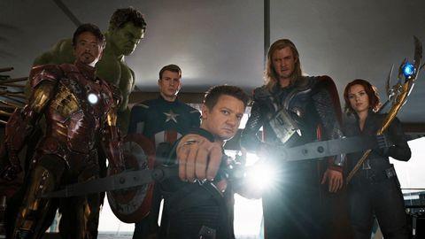 Avengers Assemble 2012 lineup Iron Man, Hulk, Captain America, Hawkeye, Thor and Black Widow