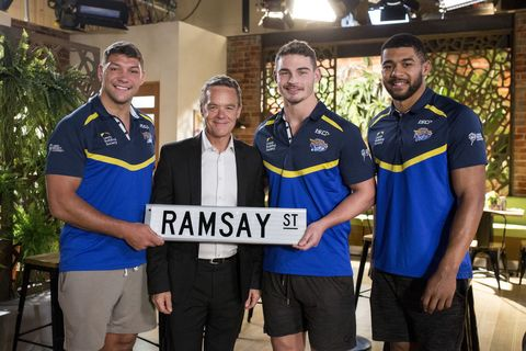 Leeds Rhinos players Ryan Hall, Kallum Watkins and Stevie Ward make a guest appearance in Neighbours