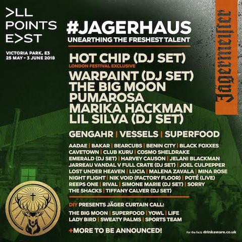 Jager Haus - Jagermiester stage - All Points East Festival line up