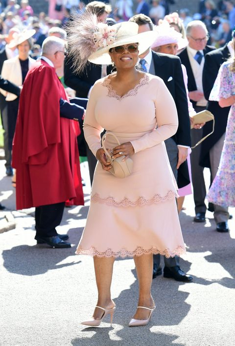 Oprah Winfrey arrives at St George's Chapel at Windsor Castle for the wedding of Meghan Markle and Prince Harry