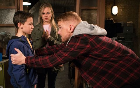 Gary Windass and Sarah Platt try to reason with Jack Webster in Coronation Street