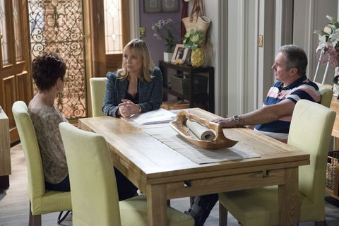 Rita Newland reveals her true intentions to Karl and Susan Kennedy in Neighbours
