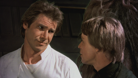 Harrison Ford and Mark Hamill as Han Solo and Luke Skywalker in Star Wars Return of the Jedi