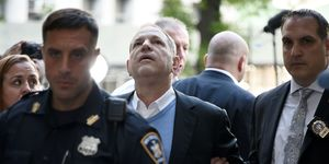 Harvey Weinstein arrives for arraignment at Manhattan Criminal Courthouse in handcuffs after being arrested and processed on charges of rape, committing a criminal sex act, sexual abuse and sexual misconduct on May 25, 2018 in New York City