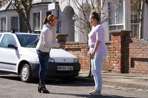 Carmel Kazemi talks to Karen Taylor in EastEnders
