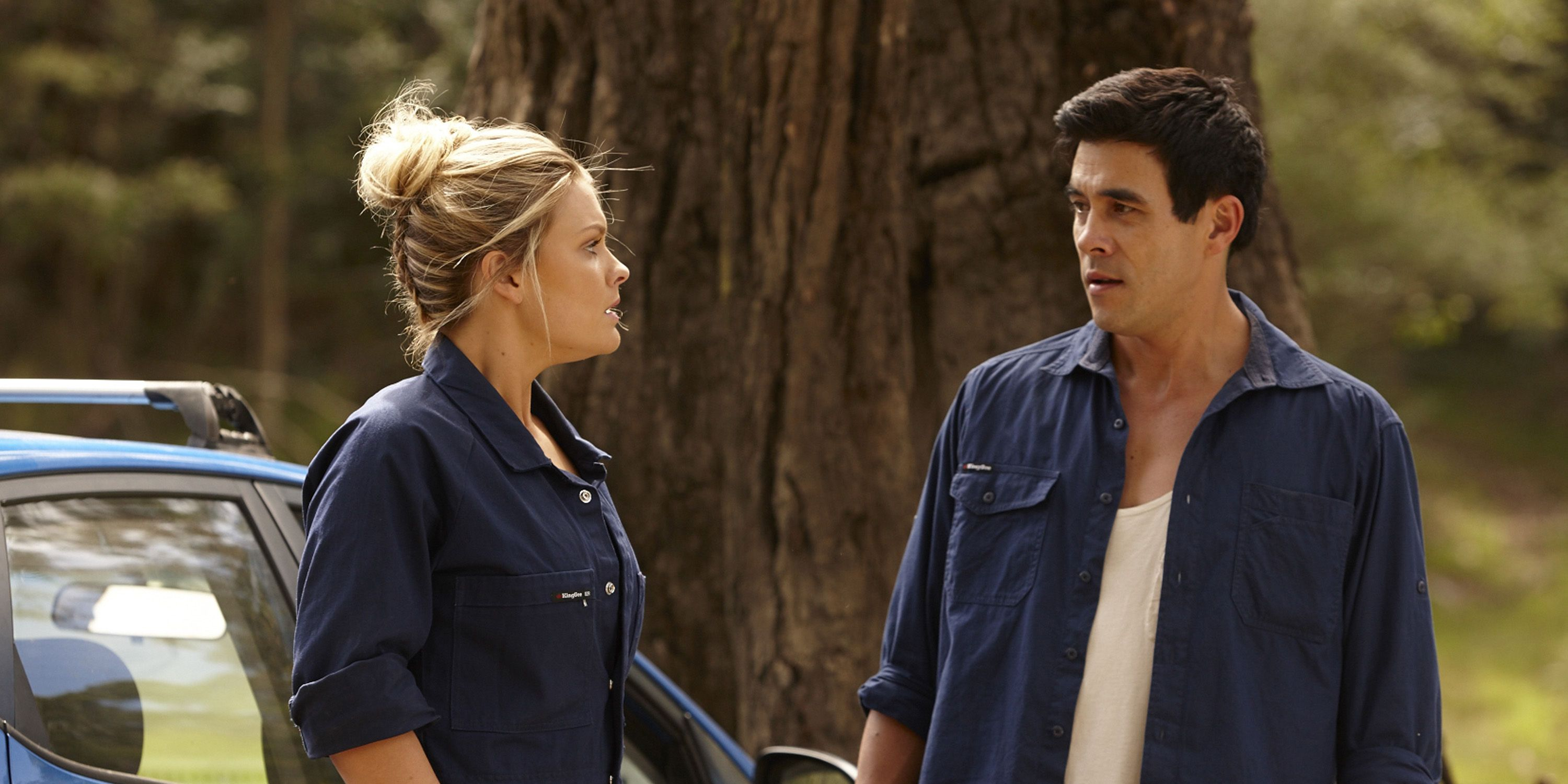 Ziggy Astoni and Justin Morgan at the accident scene in Home and Away