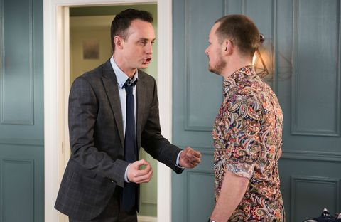 Kyle Kelly and James Nightingale argue in Hollyoaks