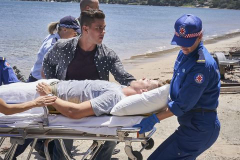 Hunter King is taken away in an ambulance in Home and Away