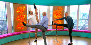 Simon and Tim practice ballet on Sunday Brunch