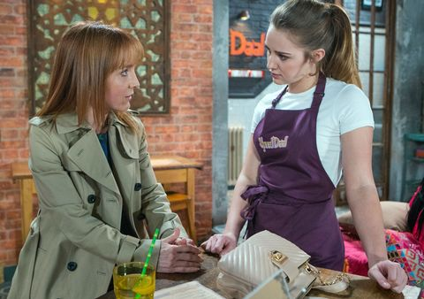 Kayla Westbrook catches up with her mum Marsha in Coronation Street