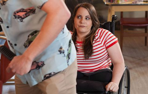 Courtney Campbell tries to help Jesse Donovan in Hollyoaks