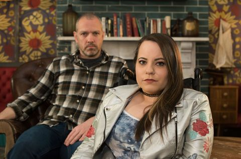 Courtney Campbell and Glenn Donovan make a deal in Hollyoaks