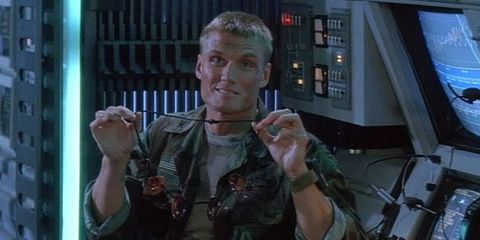 Dolph Lundgren's ear necklace in Universal Soldier 1992