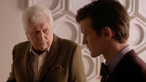 Tom Baker and Matt Smith on set of the Doctor Who 50th special