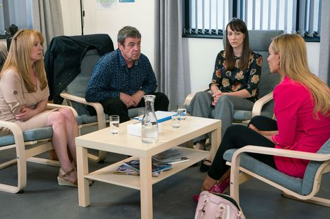 Johnny Connor and Eva Price attend mediation in Coronation Street