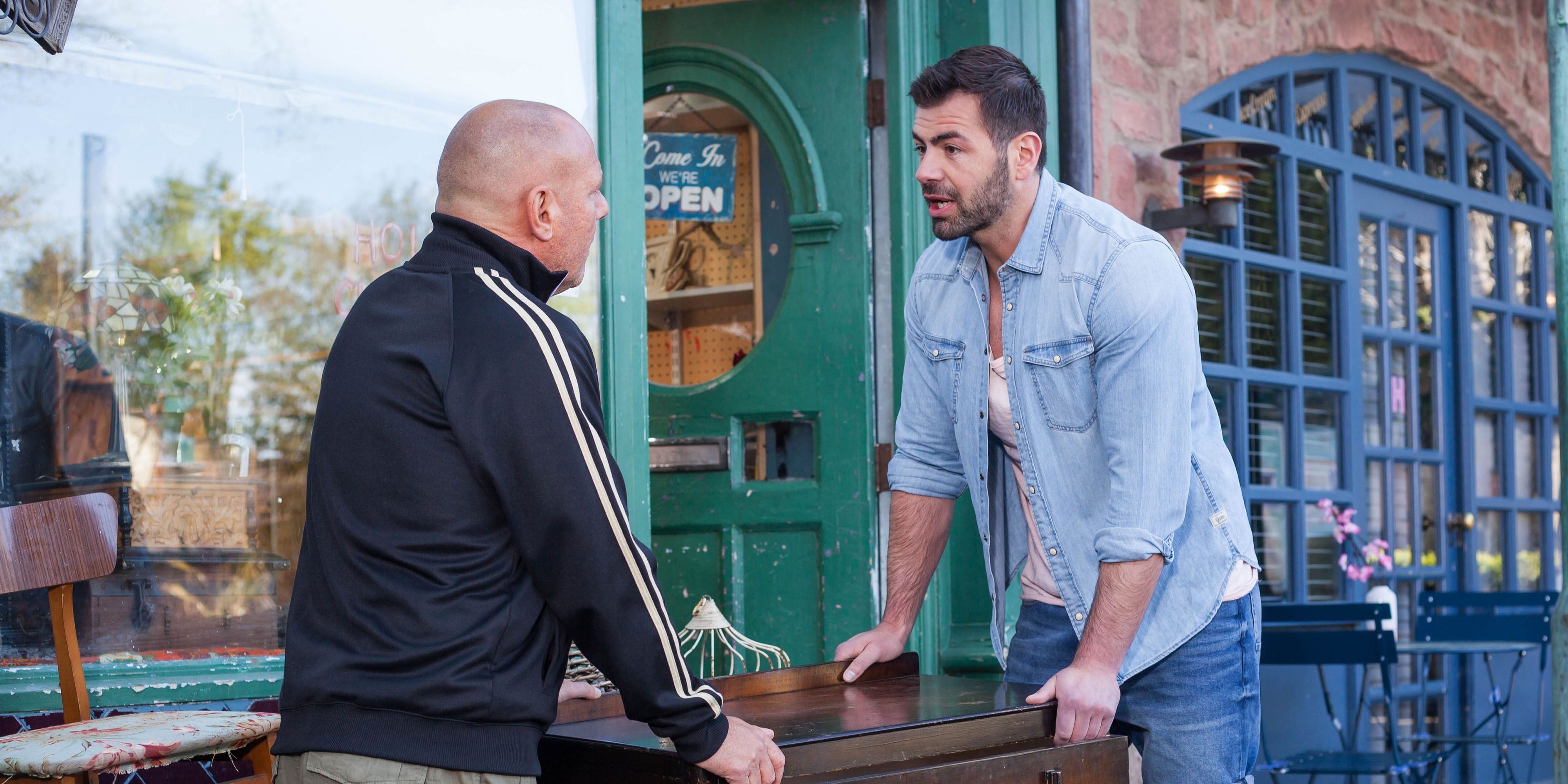 Sylver McQueen wants a job from Dirk Savage in Hollyoaks