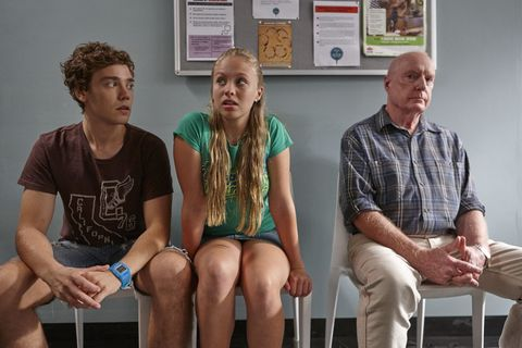 Ryder Jackson, Raffy Morrison and Alf Stewart wait for news on Ty in Home and Away