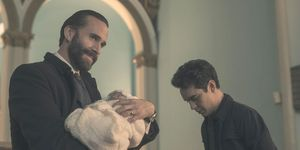 The Handmaid's Tale, Season 2 finale, Commander Waterford (Joseph Fiennes) and Nick (Max Minghella)