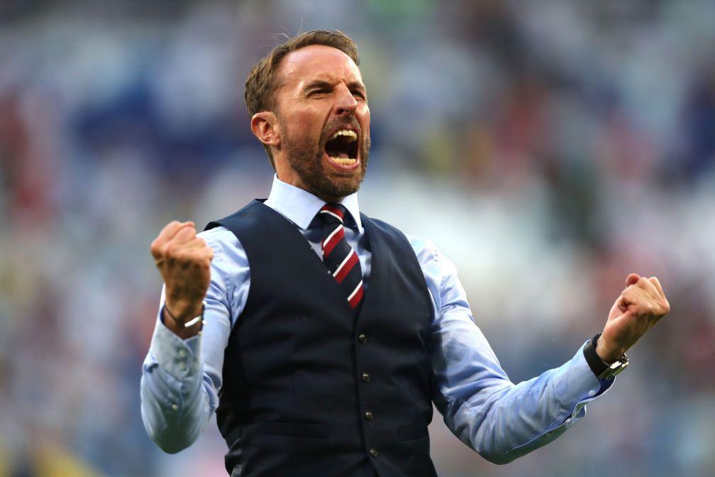 Gareth Southgate celebrating England's world cup Quarter Final win