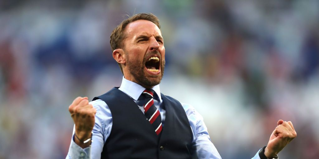 Gareth Southgate celebrating England's world cup Quarter Final win