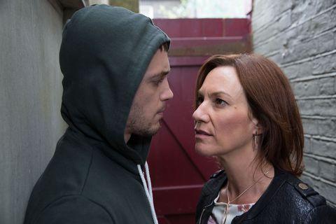 Rainie Branning confronts her old dealer in EastEnders