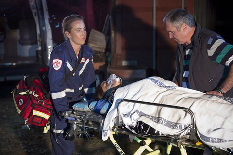 Susan Kennedy, Elly Conway and Bea Nilsson are rescued in Neighbours