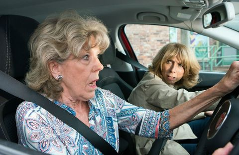 Audrey Roberts and Gail Rodwell are caught up in Kayla's car crash in Coronation Street