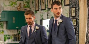 Brody Hudson and Damon Kinsella on the day of the wedding in Hollyoaks