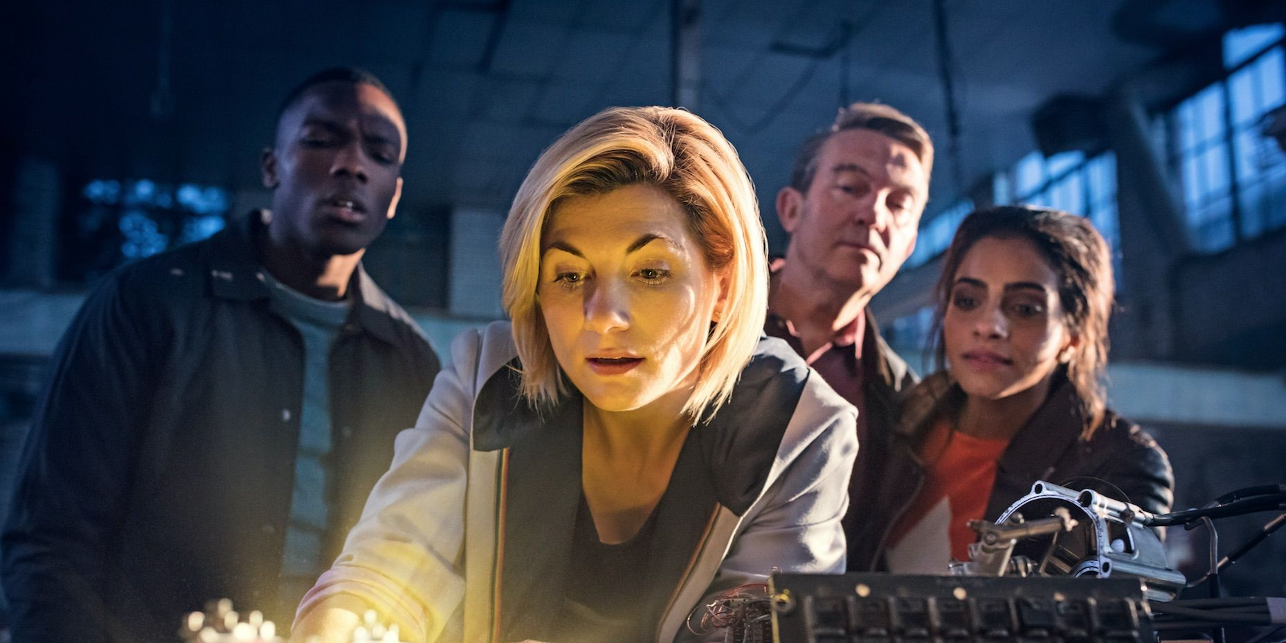 Jodie Whittaker's Doctor Who, Tosin Cole's Ryan, Bradley Walsh's Graham, Mandip Gill's Yaz