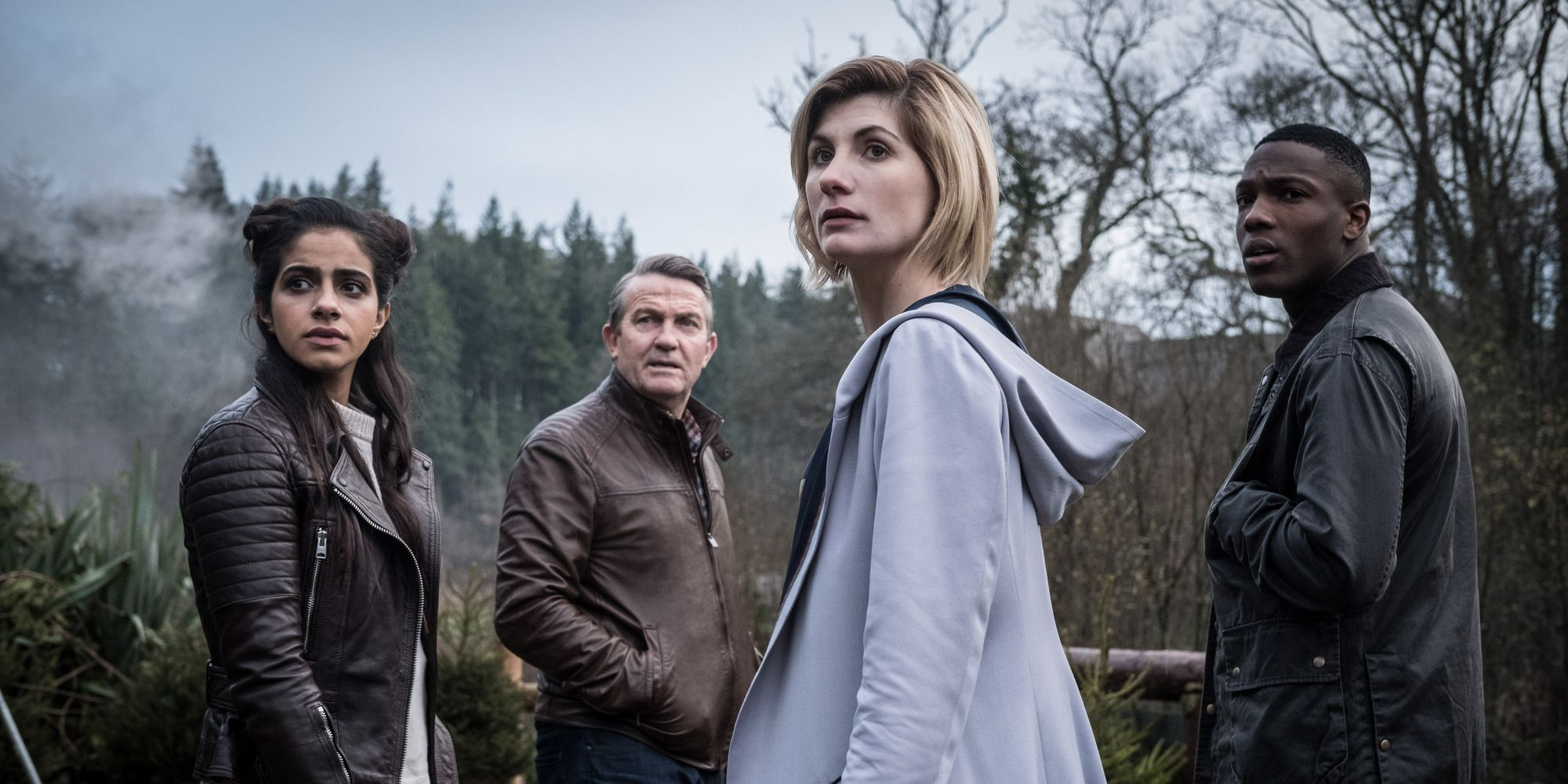 Doctor Who series 11 with Jodie Whittaker (the Doctor), Bradley Walsh (Graham), Tosin Cole (Ryan) and Mandip Gill (Yaz)