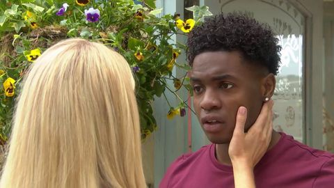 Holly Cunningham comforts Zack Loveday in Hollyoaks