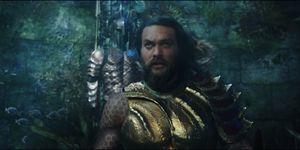 Jason Momoa as Aquaman talking underwater