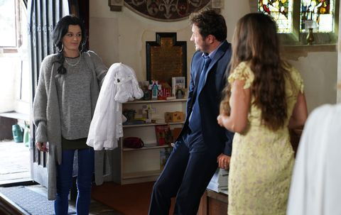 Hayley Slater, Martin Fowler and Stacey Fowler at Hope's christening in EastEnders
