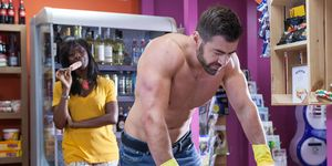 Sylver McQueen is admired by Simone Loveday in Hollyoaks