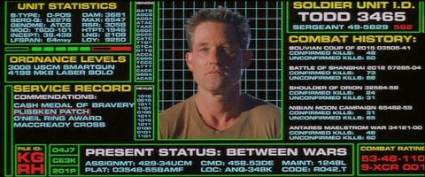 Kurt Russell in Soldier referencing Aliens and Star Trek The Wrath of Khan