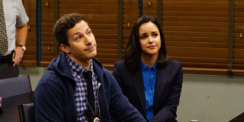Andy Samberg and Melissa Fumero in Brooklyn Nine-Nine season 5