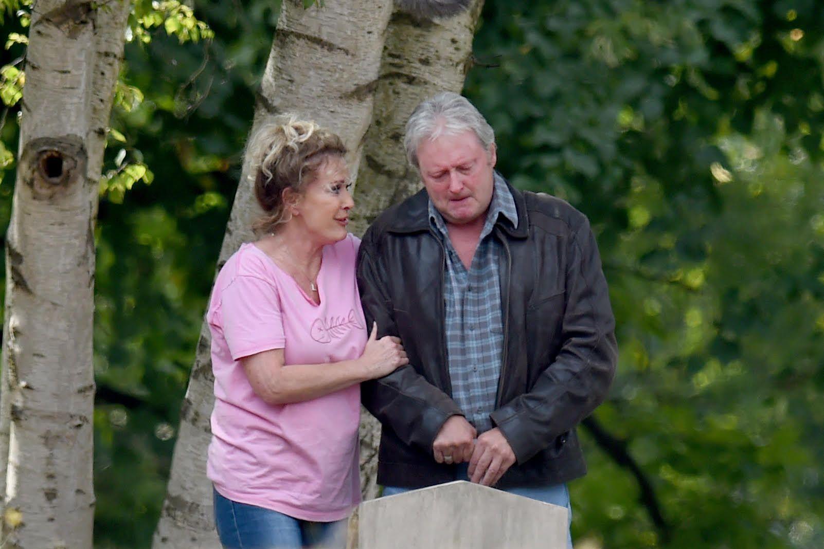 Liz and Jim McDonald visit Katie's grave in Coronation Street