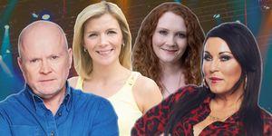Jessie Wallace as Kat Moon and  Steve McFadden as Phil Mitchell, Jennie McAlpine as Fiz Stape and Jane Danson as Leanne Battersby, Coronation street,  EastEnders, July 2018