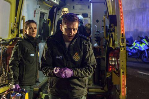 Sam Nicholls and Iain Dean in Casualty