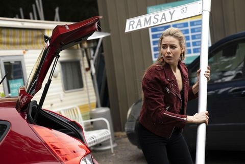 Chloe Brennan gets in trouble for stealing the Ramsay Street sign in Neighbours