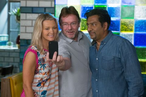 Kathy Beale, Ian Beale and Masood Ahmed prepare to launch the restaurant in EastEnders