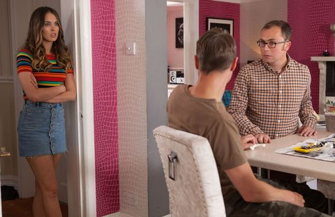 Dennis Savage is suspicious of Milo Entwistle in Hollyoaks
