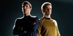 Spock and Kirk in the Star Trek reboot movies