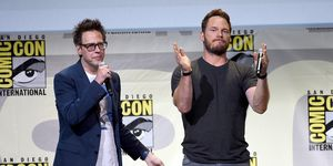 James Gunn and Chris Pratt attend the Marvel Studios presentation during Comic-Con International 2016
