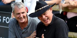 Martin Clunes and Neil Morrisey judge a dog show in surprise Men Behaving Badly reunion.