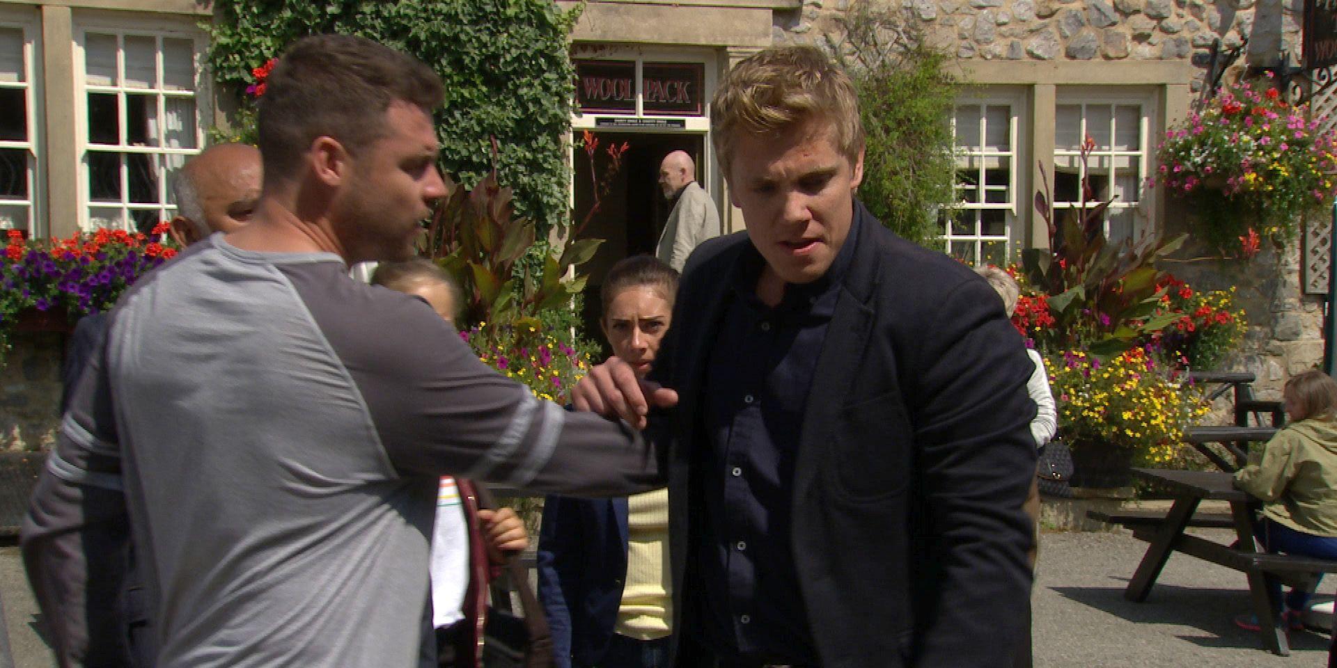 Robert Sugden gets upset in the village in Emmerdale
